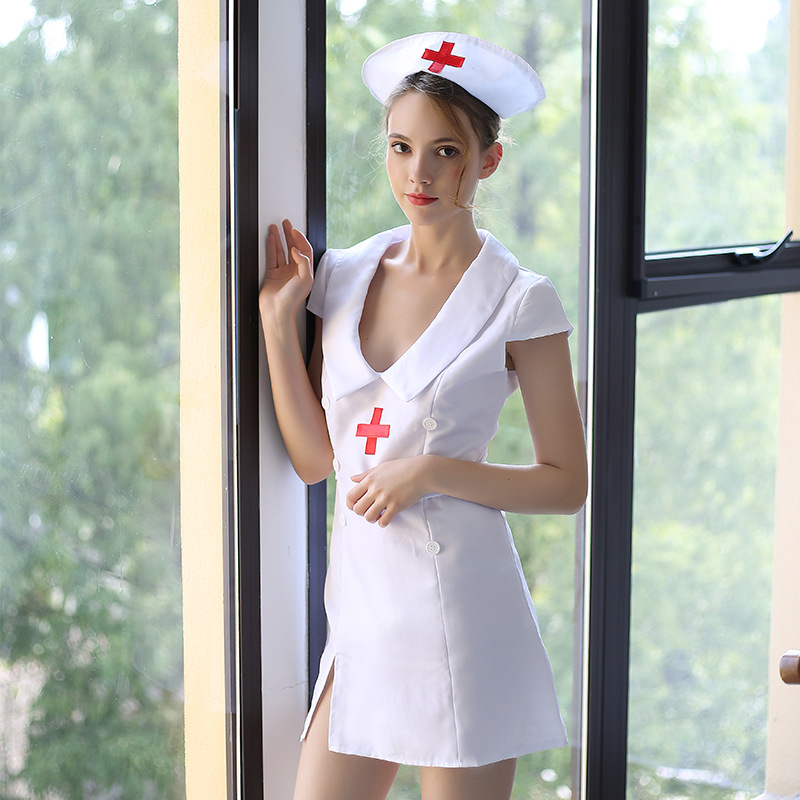 Nurse Clothing Roleplay Maid Female Flirting Outfits Night Sex Game Maid Mini Dress Carnival Prop image