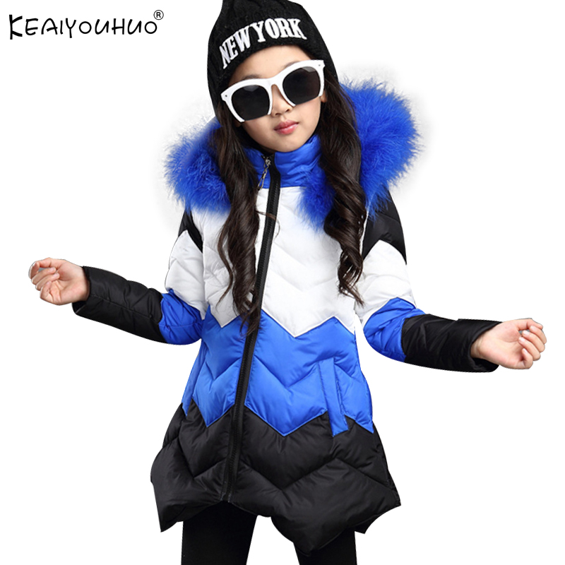 KEAIYOUHUO New Winter Coats For Girls Jacket 2017 Hooded Warm Children Down Jackets For Girls Clothes Long Sleeve Kids Outerwear winter coats girls down jacket for boys parkas long glasses models kids hooded jackets thick warm ski children outwear clothes