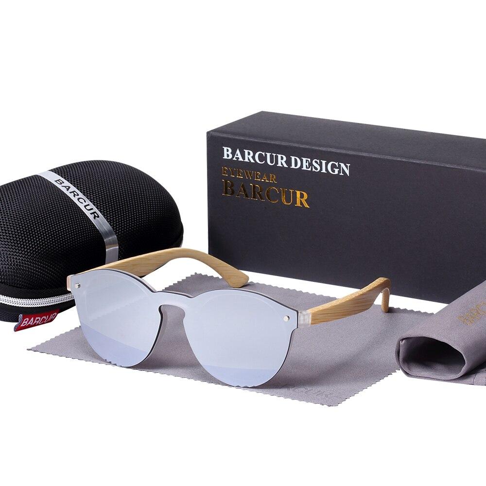 Круглые Солнцезащитные очки BARCUR Sping, бамбуковые дужки, солнцезащитные очки для мужчин и женщин