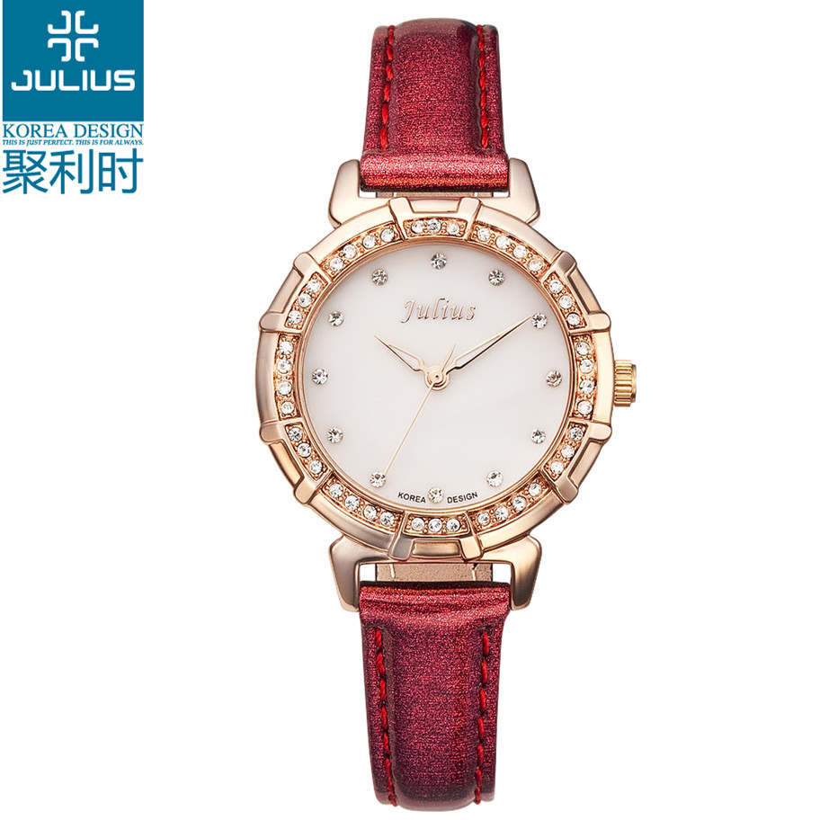Julius Lady women Wrist Watch Quartz Hours Best Fashion Dress Korea Shell Leather Bracelet Girl Gift