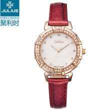 Julius Girls's Watch Japan Quartz Hours Advantageous Trend Costume Mom of Pearl Clock Leather-based Bracelet Lady's Present Field