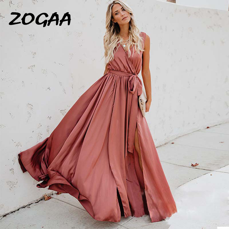 ZOGAA Summer Long Maxi Party Dress Sleeveless Split Lace Up V-Neck Bandage Dress 2019 Elegant Boho Vestidos For Women Plus Size