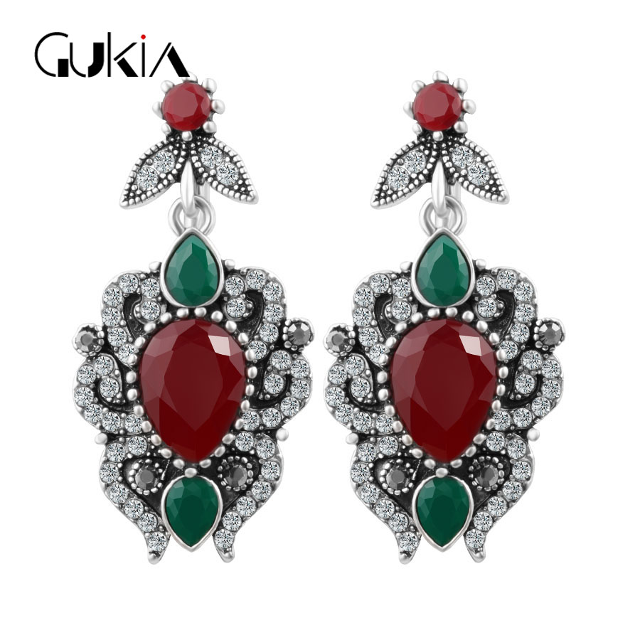 Gukin New Vintage Red Resin Long Pendant Drop Earring Brincos Pendiente Earrings For Women Christmas Party /Black Friday Gifts