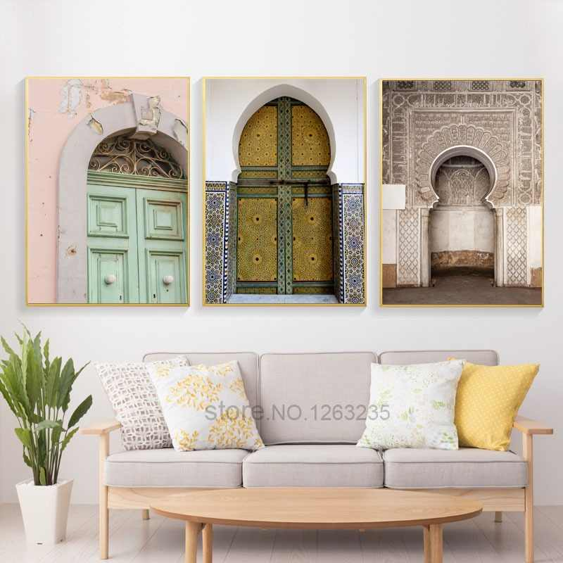Mosque Door Nordic Poster Morocco Building Wall Art Canvas Painting Religion School Wall Pictures For Living Room Decor Unframed