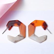 Tortoiseshell Geometric Irregular Earrings Three-color Stitching Small Hoop for Women Earings Fashion Jewelry Brincos