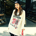 2016 Autumn Winter Plus Size Street Style Large Size T Shirt Female Long Sleeve COKE Cartoon Letters Printed T-Shirt Women Tops