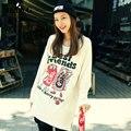 2016 Autumn Winter Plus Size Street Style Large Size T Shirt Female Long Sleeve COKE Cartoon Letters Printed T-Shirt Women Tops