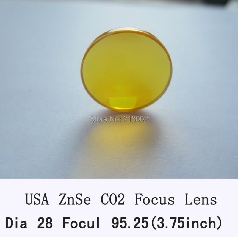 USA Znse co2 laser lens 28mm dia 95.25mm focus for co2 laser for laser engrave and cutting machine usa imported znse material 28mm diameter co2 laser lens focal length 50 8mm 63 5mm for co2 laser cutting engraving machine
