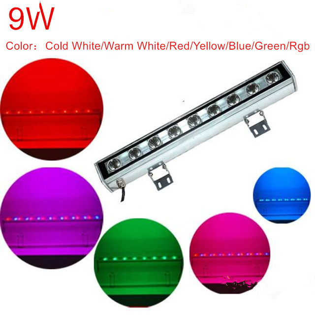 9 watts outdoor lamp LED flood light IP65 LED wall washer lamp AC 12V 24V AC85-265V white red yellow blue green rgb wall washer free by sea cartoon printing inflatable bouncer inflatable bouncer slide combo commercial inflatable bouncy castle for sale