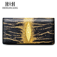 HH 2018 Genuine Leather Women Wallet Luxury Stingray Skin Female Purses Cow Leather Long Wallets Pearl