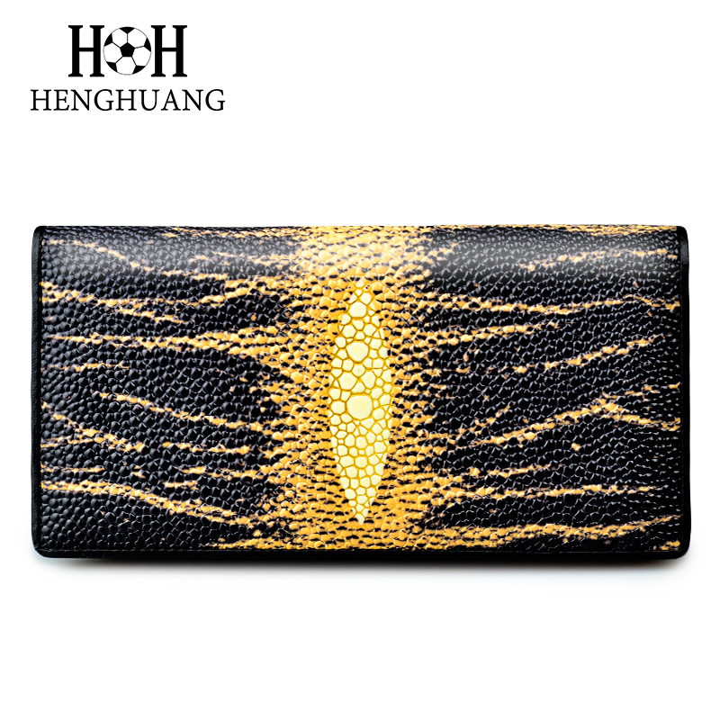 HH 2018 Genuine Leather Women Wallet Luxury Stingray Skin Female Purses Cow Leather Long Wallets Pearl Fish Leather Purse yuanyu 2018 new hot free shipping pearl fish skin long women clutches euramerican fashion leisure female clutches