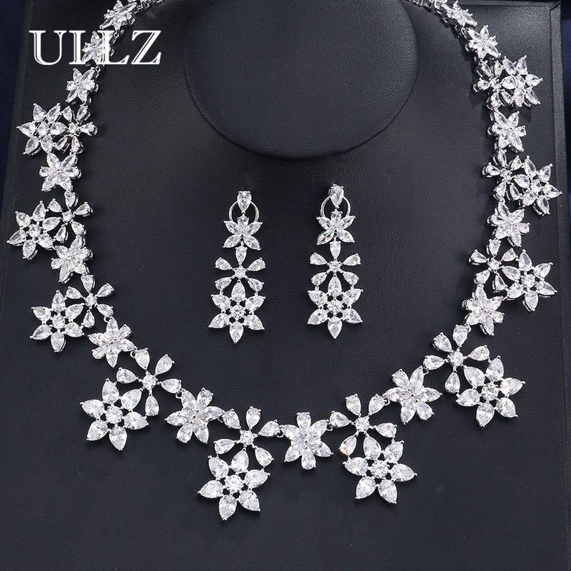 UILZ High Quality Cubic Zirconia Wedding Necklace And Flower Shape Earrings Luxury Crystal Bridal Jewelry Sets For Bridesmaids