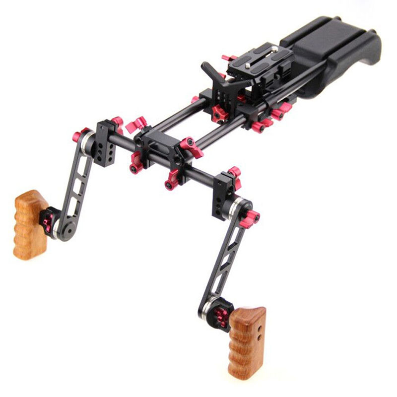 DSLR Shoulder Rig Video Camera Stabilizer Mount Support Cage Rig Kit w/Dual Handgrip For Canon Nikon Sony Camera Camcorder C9093 dhl new dslr video bracket shoulder mount support rig handgrip holder for canon sony nikon panasonic slr camera dv camcorder