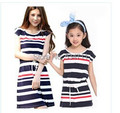 Free shipping 2014 summer cotton striped dress girls dress + mother dress Size 110-170