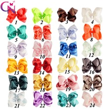 """24 Pieces/lot 5"""" Stack Hair Bows With Clips For Kids Girls Princess Handmade Plain Ribbon Layers Bows Hairgrips Hair Accessories"""