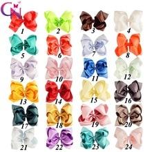 """24 Stuks/partij 5 """"Stack Hair Bows Met Clips Voor Kids Meisjes Prinses Handgemaakte Plain Lint Lagen Bows Haarspelden Haar accessoires"""