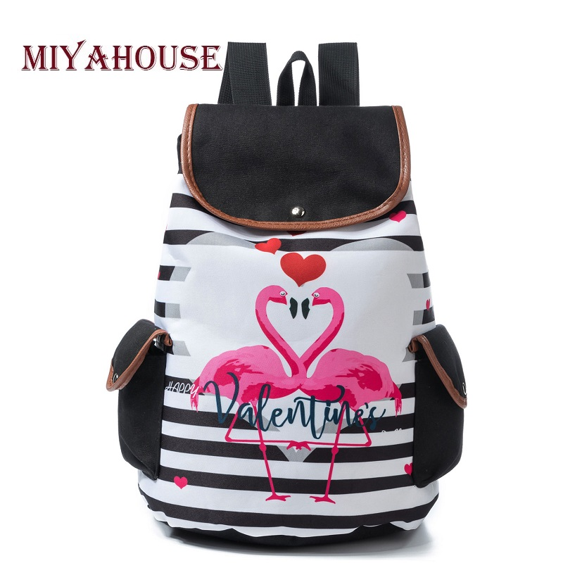 Miyahouse Striped And Flamingo Print Backpack Women Fashion Cartoon Canvas Ladies School Backpack Drawstring Design Travel Bag цены