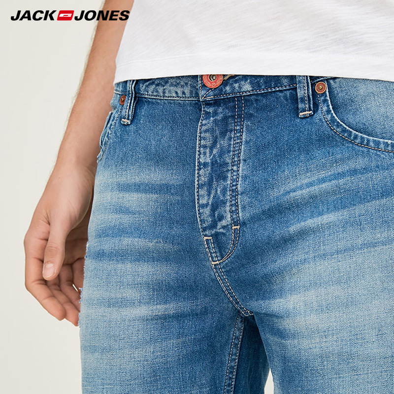 Jack Jones Men 39 s Summer Slim Fit Jeans Cotton Linen Washed Straight Fit Mens Ripped Jeans Streetwear 217232521 in Jeans from Men 39 s Clothing