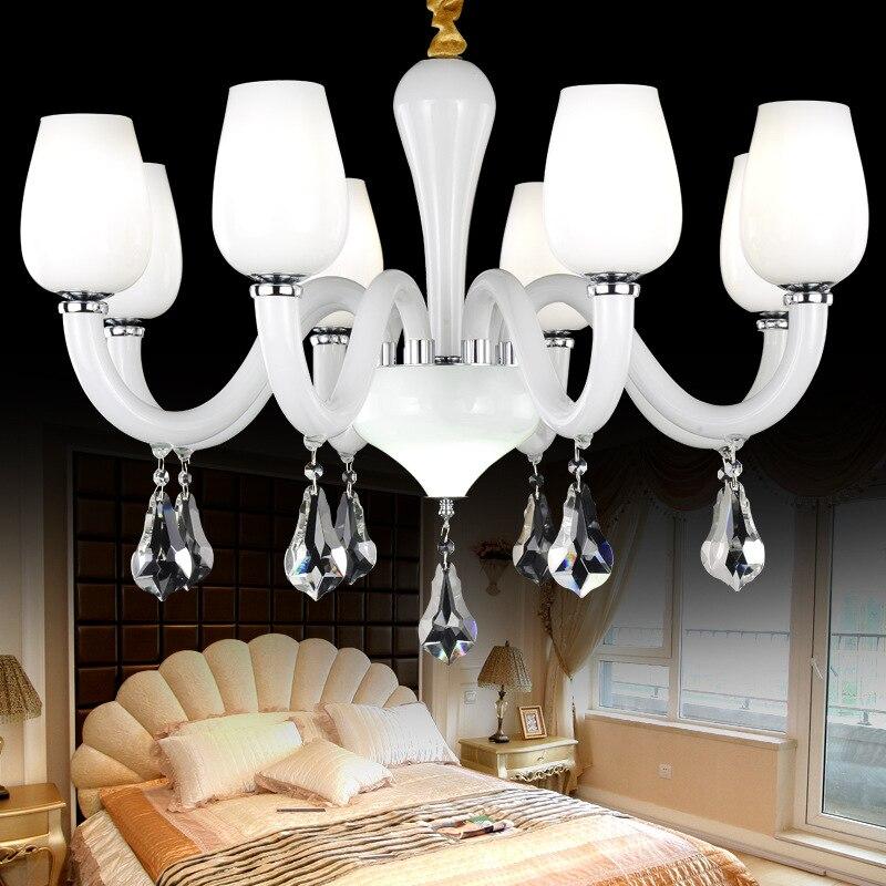 Lámpara de araña de cristal lámpara de sala de estar lámpara de techo de cristal moderno de araña blanca de nieve europea - 2