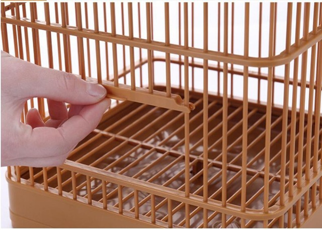 Assembly Bird Cage With Feeder And Waterer Small Pet Bird Full Set Of Plastic Bird House Thrush Parrot Cage 23x23x22cm 5
