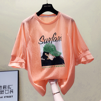 Printed Pink Short sleeved T shirt Women's Summer Loose Korean Shirt Bubble Sleeve Characters Catch Fashion Tops Oversize Tshirt