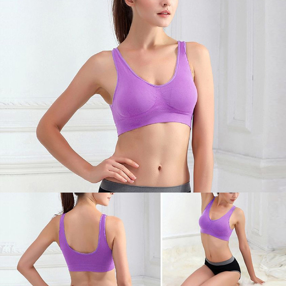 3pc Women Dual-layer Seamless Breathable Sports Fitness Yoga No Trace Bra Vest