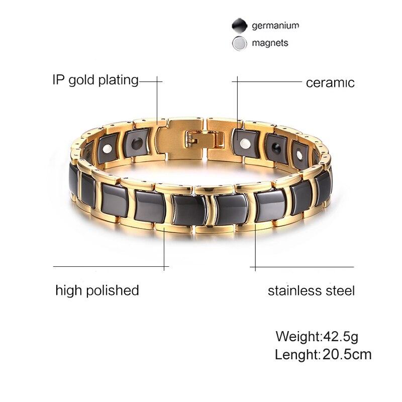 Image 2 - Vinterly Black Gold color Bracelets Men Hand Chain Bio Magnetic Germanium Bracelet Men Trendy Health Ceramic Men Jewelry CM021stainless jewelrygermanium braceletmagnetic germanium bracelet -