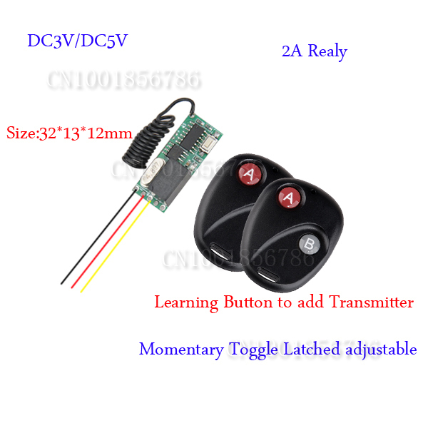 DC3-5V Mini Small Volume Radio Remote Control Switch System 2 Transmitter Receiver 315/433.92MHZ Latched Toggle Momentary Learn inhuman volume 3