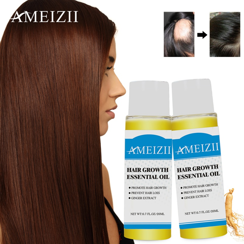 AMEIZII 2Pcs Hair Growth Essential Oil Products Organic Natural Ginger Extract H