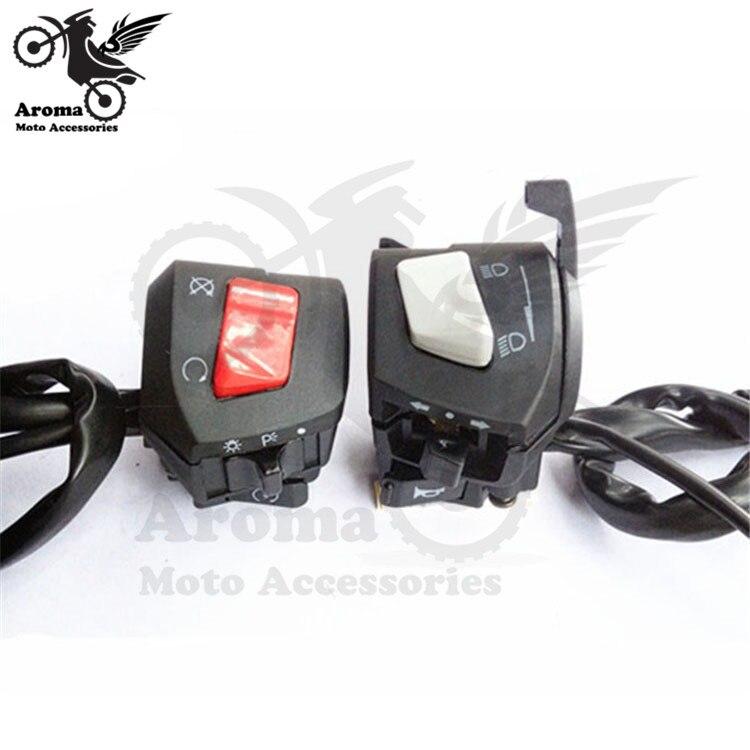 1 paire universal marque noir moto commutateurs puissance éclairage multi-fonction moto contrôle guidon pour honda moto commutateur