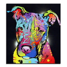 Large size Oil Painting Wall Painting Young Pitbull – Home Decorative