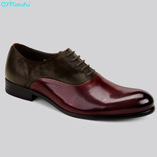 QYFCIOUFU Italian Formal Shoes Men Luxury Two Tone Dress Genuine Leather High Quality Cow Brand Party