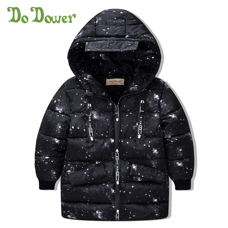 Winter Baby Boys And Girls Keep Warm Kids Down Coat Children Starry Sky Jackets Elastic Cuffs Cotton Star Pouf Warm Outerwear button tab cuffs hooded belted coat