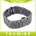 Pulseira de aço inoxidável 22mm butterfly fivela smart watch band bracelet strap para motorola moto 360 1 1st gen 2014 preto