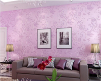 Beibehang Simple Flowers Pastoral Nonwovens Wallpaper Purple Classic Wall Paper Bedroom Living Room Background Papel De