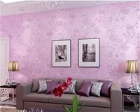 Beibehang منسوجات خلفيات ورق الحائط نوم الأرجواني الكلاسيكية بسيطة الزهور الرعوية غرفة المعيشة خلفية papel دي parede