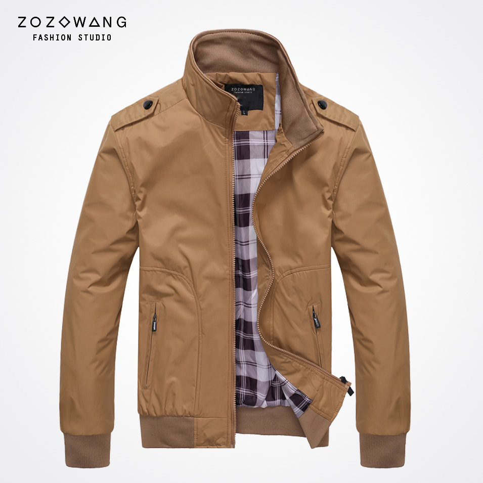 새로운 도착 가을 겨울 높은 품질 플러스 사이즈 자켓 남성 카키색 포켓 스탠드 칼라 코트 남성 지퍼 캐주얼 남성 자켓을 zozowang