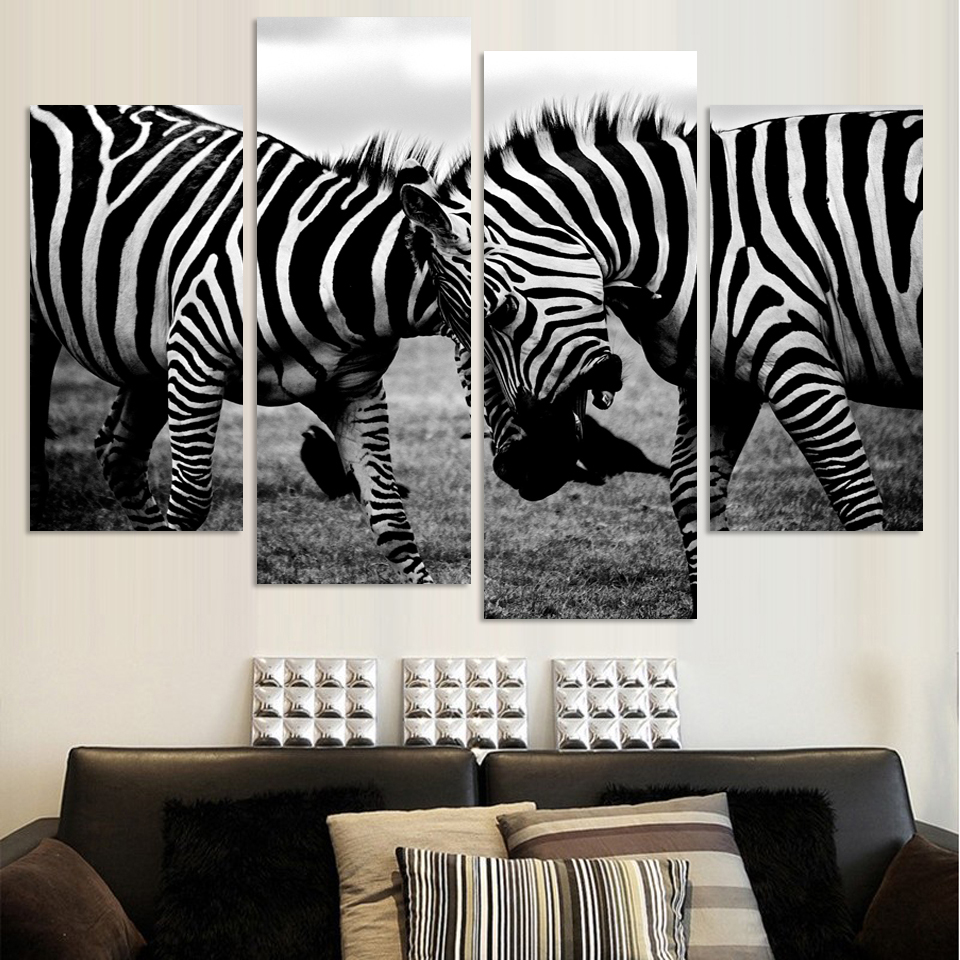 4 Panels Canvas Two Zebra Horse Painting On Canvas Wall Art Picture Home Decor Fou067