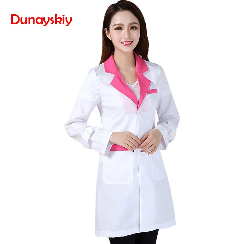 New Arrival Fashion Hospital Nurse Uniforms Lady Short Sleeve Medical Clothes Beauty Salon V-neck White Lab Coat Nurse Uniform