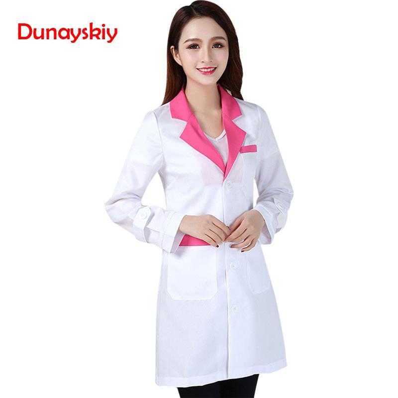 New Arrival Fashion Hospital Nurse Uniforms Lady Short Sleeve Medical Clothes Beauty Salon V-neck White Lab Coat Nurse Uniform