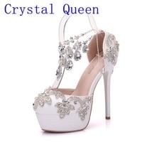 Crystal Queen New Fashion Rhinestone Sandals Pumps Shoes Women Sweet Luxury Platform Wedges Shoes Wedding Heels