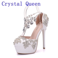 Crystal Queen New Fashion Rhinestone Sandals Pumps Shoes Women Sweet Luxury Platform Wedges Shoes Wedding heels High Heels