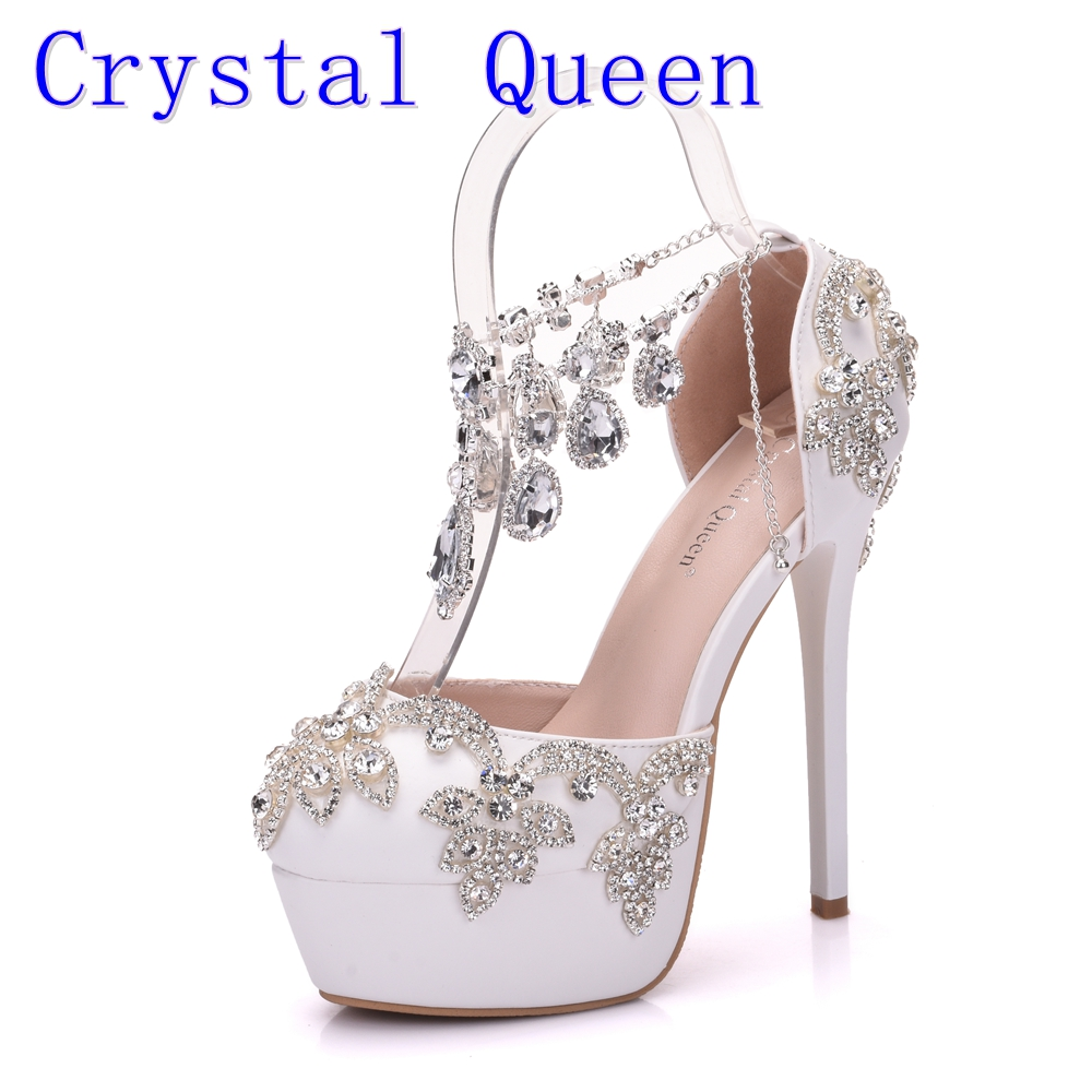 Crystal Queen New Fashion Rhinestone Sandals Pumps Shoes Women Sweet Luxury Platform Wedges Shoes Wedding heels High Heels luxury brand crystal patent leather sandals women high heels thick heel women shoes with heels wedding shoes ladies silver pumps