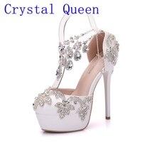 Crystal Queen nueva moda rhinestone sandalias bombas zapatos mujeres dulces cuñas de plataforma de lujo zapatos de boda tacones altos