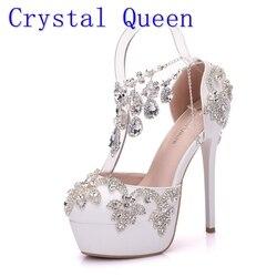 Kristall Königin Neue Mode Strass Sandalen Pumps Schuhe Frauen Süße Luxus Plattform Keile Schuhe Hochzeit heels High Heels