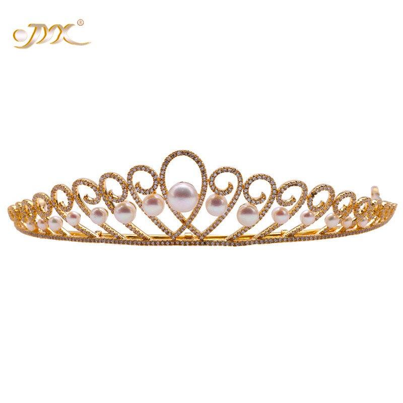 Pearl Tiara Round JYX Crown Bridal-Hair Birthday-Party 4-10.5mm Flatly Natural White