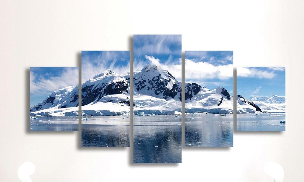 5 paneļu sniega kalnu HD drukāts ainavu gleznojuma audekla drukas - Mājas dekors