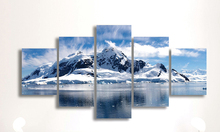 5 Panels Snow Mountain Landscape Painting Canvas Printing Modern Home Wall Decor Picture for Living Room framed HX-056