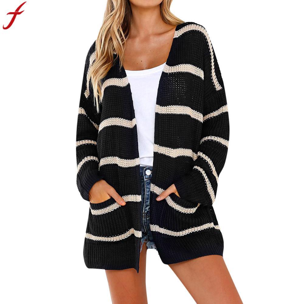 2018 Neue Ankunft Herbst Winter Gestrickte Strickjacke Frauen Streifen Langarm Outwear Jumper Pullover Cardigans Mit Taschen Tops Modische Muster