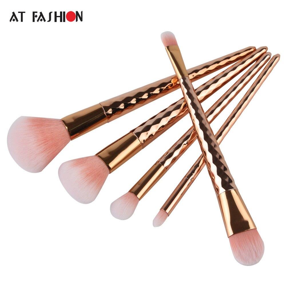 New Hot Rose Gold 5pcs Ripple Unicorn Makeup Brushes Set Foundation Blush Eyeshadow Power brushes Cosmetic